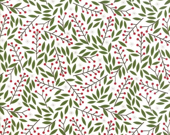 Gingiber Merriment Holly Berries - Snow (48273 11) for Moda Fabrics