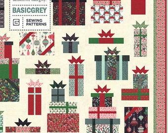 """Boxes and Bows Quilt Pattern by Basic Grey for Moda Fabrics - Finished size: 69"""" x 84"""" - Christmas Quilt Pattern"""