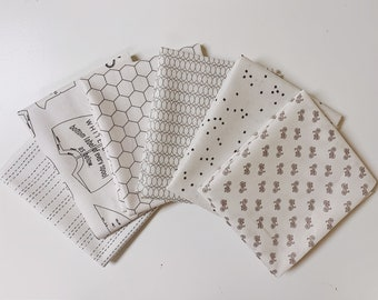 Low Volume Fat Quarter Bundle - (6) neutral prints - Low Volume Fabrics - Cut in house - FQ bundle - Quilting Cotton Fabric