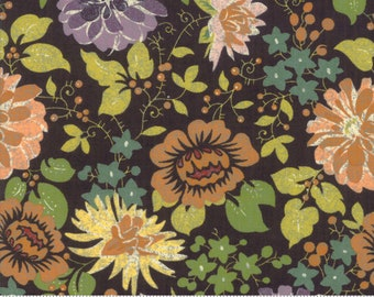 BasicGrey Hallo Harvest Raven Dahlias and Spider Mums (30600 11)  by BasicGrey for Moda - Halloween Fabric - Cotton Quilting Fabric