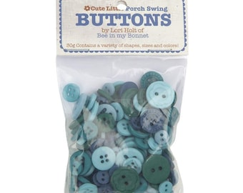Lori Holt Cute Little Buttons Porch Swing Assortment -  Contains 30g of Blue Buttons
