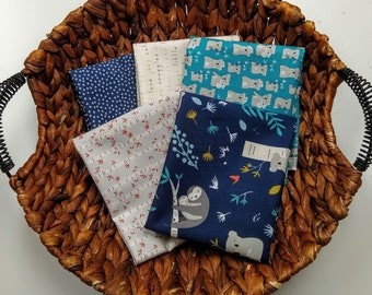 Joey by Deena Rutter FQ Bundle - (5) FQs - Quilting Cotton Fabric - Fat Quarter Bundle - Koala, Sloth Fabric - Riley Blake Designs