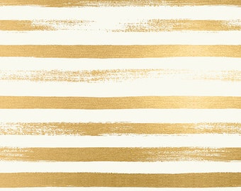 "Ruby Star Society Pop Zip Metallic Gold Stripe by Rashida Coleman Hale - Novelty Children's Fabric - (RS1005 24M) - 26"" remnant"