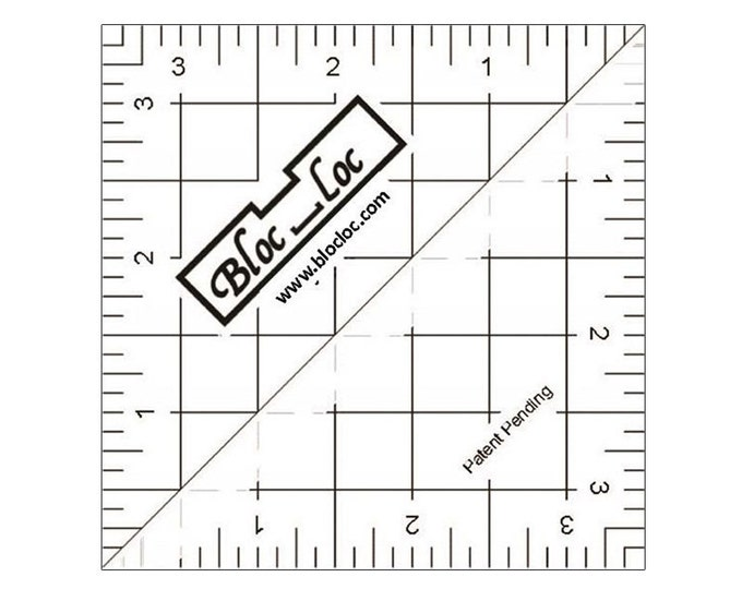 """Bloc-Loc 3.5"""" Inch Ruler - Half Square Triangle Ruler - Square Up Ruler for HST - Quilting Tool"""