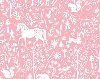 Melba Forest Frolic from Save Yourself by Dear Stella  (ST-1321MELBA)  Pink print fabric  - Unicorn Fabric - Dear Stella