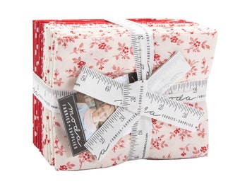 My Redwork Garden Fat Quarter Bundle by Bunny Hill Designs - (2950AB) -  (22 FQ's) - Red and White Fabric
