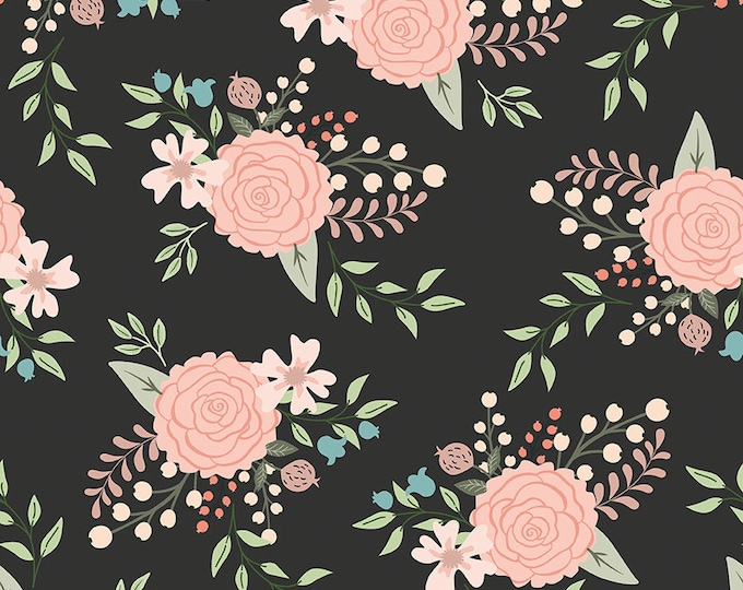 Bliss Black Sparkle Main Print by My Mind's Eye for Riley Blake Designs (SC8160-BLACK)