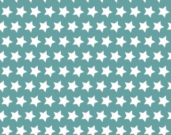 "Stars in Teal (C315-26) - 28"" remnant piece - Teal Stars Fabric by Riley Blake Designs"