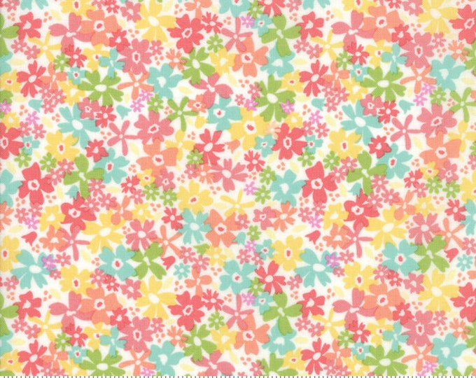 Sunnyside Up Floral Charming Fluffy (White) by Corey Yoder (Little Miss Shabby) for Moda (29052 11) - 1/2 yard