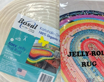 Jelly Roll Rug Pattern & Batting Combo