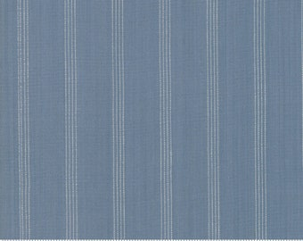 Northport Silky Wovens Medium Blue Stripe by Minick & Simpson for Moda Fabrics  (12215 19) - Patriotic Fabric - Plaid Fabric