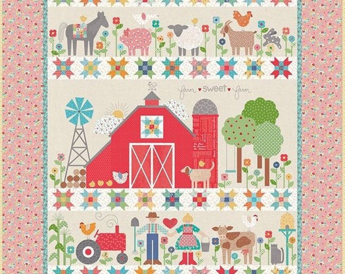 Featured listing image: Farm Sweet Farm Quilt Kit by Lori Holt (Bee in My Bonnet) For Riley Blake. - FREE SHIPPING - Lori Holt Quilt Kit - Farm Girl Vintage Fabric