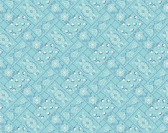 Farm Girl Vintage Bandana Aqua by Lori Holt (Bee in My Bonnet) (C7874-AQUA)