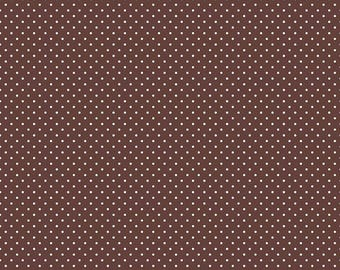 White Swiss Dots on Brown by Riley Blake Designs   (C670 90) Swiss Dot Fabric - Cut Options Available