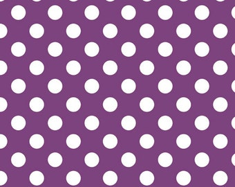 Purple Medium Dots by Riley Blake Designs (C360 125) Polka Dot Fabric - Cut Options Available