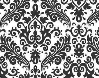 RBD, Large Damask White on Black (C840 110)