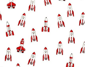 White Rocket Fabric from Let's Go 2 by Robert Kaufman - Low Volume Fabric - Rocket Ship Fabric (SB-850280D2-1 WHITE)