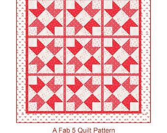 Garden Delight Quilt Pattern  by The Quilt Factory, using My Redwork Garden fabric (QF 1906G)