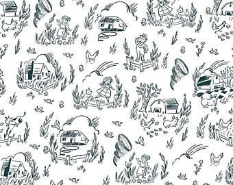 Dorothy's Journey Kansas White by Jill Howarth (C8682-WHITE) - White and Black Fabric - Wizard of Oz Fabric - Cut Options Available