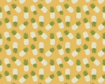 Club Havana Pineapple Yellow SALE - Riley Blake Designs -  Jersey KNIT Cotton Lycra Stretch Fabric - Cut options available