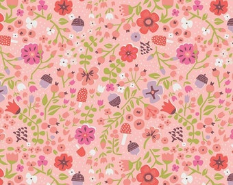Little Red In The Woods Floral Pink SALE (C8083-PINK) by Jill Howarth - Pink Floral Fabric