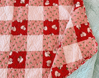 """Swell Red Buffalo Plaid Quilt Kit - Quilt Top and Binding Fabric Included - 66"""" x 82.5"""" finished size - PREORDER"""