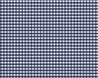 Riley Blake Designs, Small Gingham in Navy (C440 21) - Navy Gingham Fabric