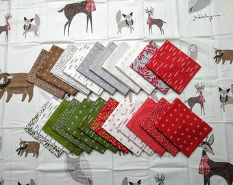 Merriment by Gingiber Fat Quarter Bundle (48270AB) 22 FQ's plus Multi Animal Panel