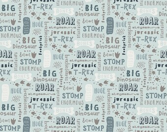 Fossil Rim 2 Light Blue Words by Deena Rutter for Riley Blake Designs (C8871-LTBLUE) - Dinosaur Fabric - Cut Options Available