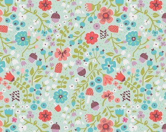 Little Red In The Woods Floral Mint SALE (C8083-MINT) by Jill Howarth - Little Red Riding Hood Fabric