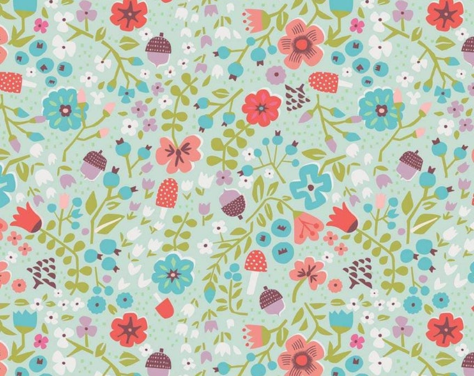 Little Red In The Woods Floral Mint (C8083-MINT) by Jill Howarth
