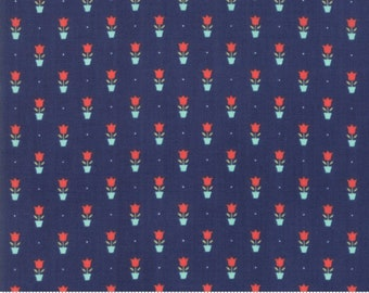 Early Bird Navy Tulips by Bonnie & Camille for Moda Fabrics (55197 15) - Cut Options Available