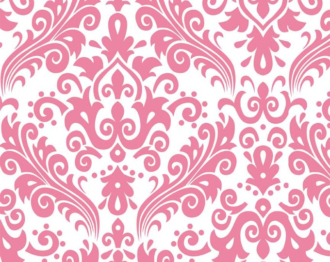 """CLEARANCE!!  RBD, Large Damask Hot Pink on White (C840 70) - 34"""" x 44"""" remnant"""
