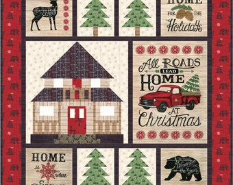 Home for Christmas Quilt Kit - Featuring Holiday Lodge  by Deb Strain for Moda Fabrics - PRESALE (KIT19890) - Christmas Quilt