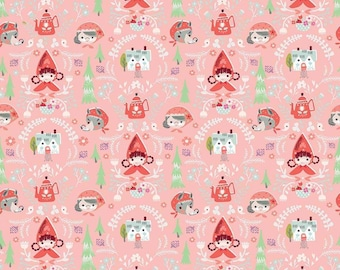 Little Red In The Woods Damask Pink SALE (C8081-PINK) by Jill Howarth - Clearance Fabric