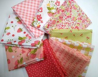 Stitches Half Yard Bundle - Blushing Strawberries Bundle -  (9 Half Yard Cuts)