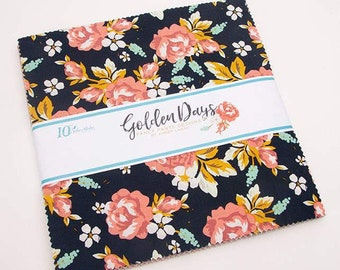 "10 inch Stacker Golden Days by Fancy Pants Design for Riley Blake Designs - Charm Pack - 10"" x 10"" squares - Precut Fabric"