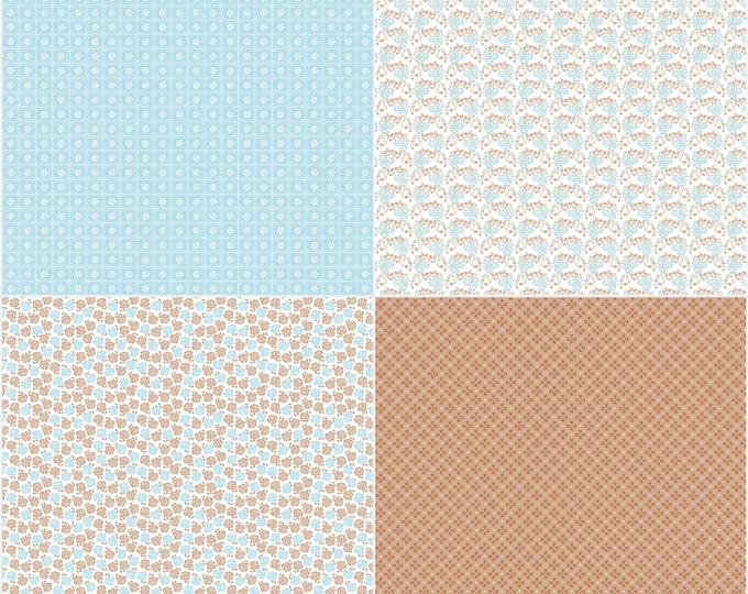 Sew Cherry 2 By Lori Holt Fat Quarter Panel Aqua (FQP5809-AQUA)