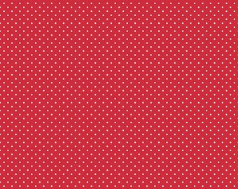 White Swiss Dot on Red by Riley Blake Designs  (C670 80) Swiss Dot Fabric - Cut Options Available