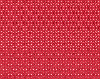 Riley Blake Designs, White Swiss Dot on Red  (C670 80)