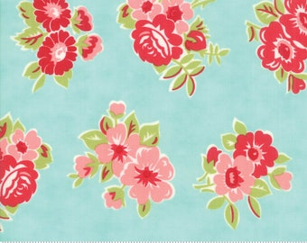 Little Snippets Aqua Marmalade Floral by Bonnie & Camille for Moda Fabrics (55188 12)