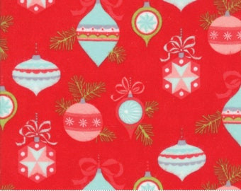 Vintage Holiday FLANNEL - SALE (55160 11F) Red Ornaments Bonnie & Camille - Flannel Christmas Fabric