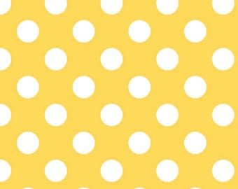Yellow Medium Dots by Riley Blake Designs (C360 50) Polka Dot Fabric - Cut Options Available