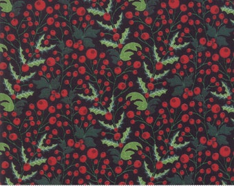 Kringle Claus - Holly Berry - Coal - (30593 12) - BasicGrey Kringle Claus for Moda Fabrics -  Cotton Quilting Fabric - Kringle Klaus
