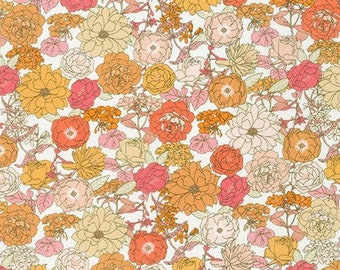 Creamsicle Floral Fabric from London Calling 9 by Robert Kaufman - Floral Fabric (SRKD-19227-152 CREAMSICLE)