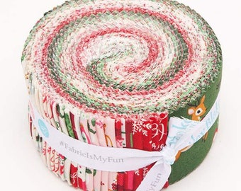 Merry And Bright Rolie Polie  by Dani Mogstad (Echo Park Paper Co.) for Riley Blake Designs - Jelly Roll Fabric - Christmas Precut Fabric