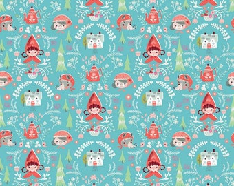 Little Red In The Woods Damask Teal (C8081-TEAL by Jill Howarth