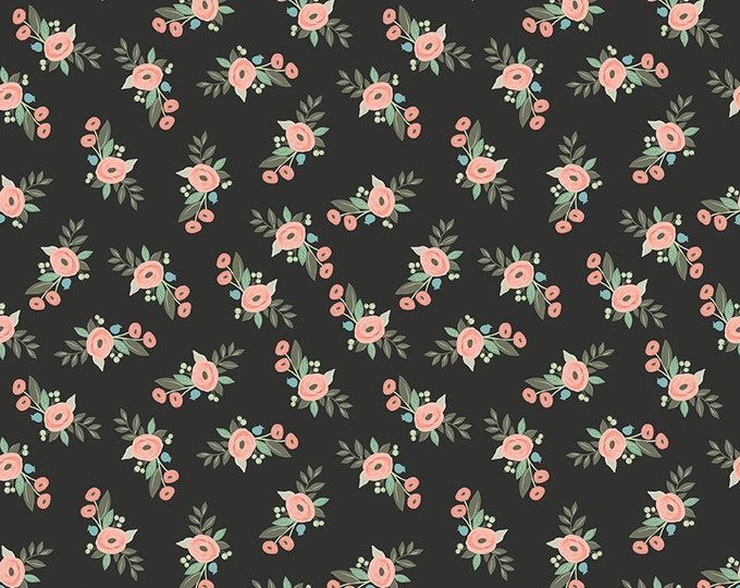 Bliss Black Floral by My Mind's Eye for Riley Blake Designs (C8161-BLACK)