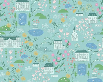 Pemberley Light Teal Main by Citrus and Mint Designs for Riley Blake Designs (C8820-LTTEAL)  - Jane Austen Fabric