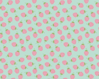 Flannel Strawberries on Mint by Riley Blake Designs (F7787-MINT) - Flannel Fabric - Cut Options Available